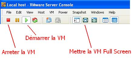 barre outils vmware machine virtuelle